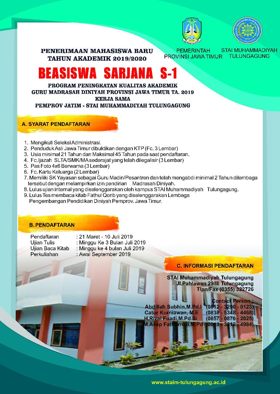 Program Beasiswa Madin Tahun Akademik 2019/2020