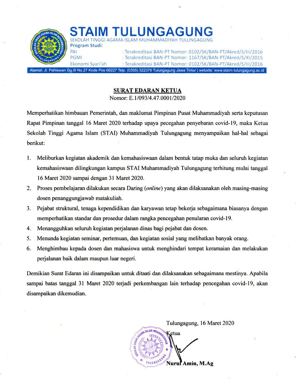 Surat Edaran Ketua Tentang Pencegahan Penyebaran Virus Corona di Lingkungan STAIM Tulungagung